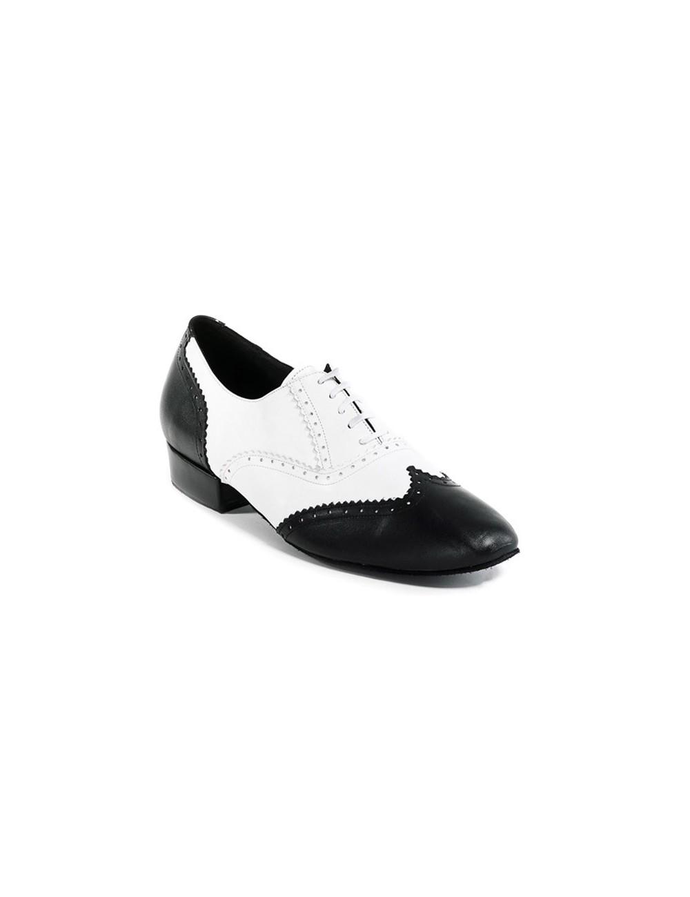 4ea3cf3d Zapatos de baile hombre blanco y negro. Calzado elegante de hombre para  bailar Tango y bailes de salon con tacón de fabricación artesanal en piel.